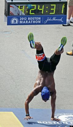 Remus Medley.  When his legs cramped up at the end of the Boston Marathon, he made it across the finish line anyway...by using his hands.