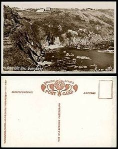 Guernsey Old Real Photo Postcard PETIT BOT BAY Rocks Cliffs Panorama Channel Is.