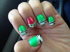 Bright Zebra nails