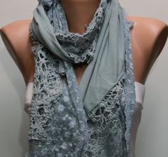 Gray Scarf  Headband Necklace Cowl with Lace Edge by fatwoman, $19.00