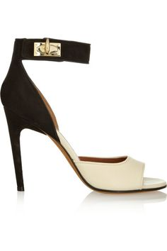667e05fc1b4 GIVENCHY Sandales à talons Shark Lock en nubuck et cuir texturé beige et  noir Sock Shoes