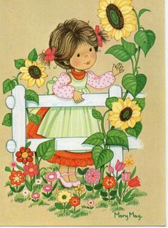 Mary May Vintage Postcard with cute girl and sunflowers by CuteEyeCatchers Vintage Greeting Cards, Vintage Postcards, Mary May, Vintage Illustration, Sunflower Art, Flower Coloring Pages, Cute Clipart, Holly Hobbie, Thomas Kinkade