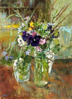 Diane Armfield (British B.1920), Dark Pansies With Wild Flowers