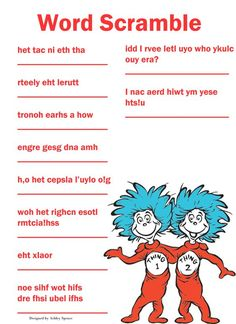 free printable dr. seuss baby shower games - Google Search