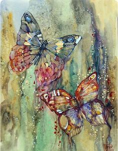 """art-and-dream: """" Art painting wonderful style by Podgaevskaya Marina """" Butterfly Painting, Butterfly Art, Watercolour Butterfly, Art Papillon, Art Watercolor, Dream Art, Silk Painting, Beautiful Butterflies, Mixed Media Art"""