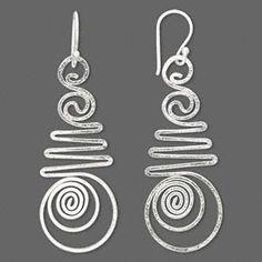 Earring, sterling silver, 50x15mm fancy wirework. Sold per pair.