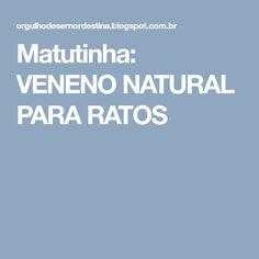 Matutinha: VENENO NATURAL PARA RATOS