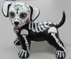 Day of the Dead Painted Sugar Skull Dog Statue Puppy Figurine Dia De Los Muertos