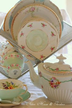Mix Matching Tea Cups with a flower garden of patterns. ~ Mary Walds Place - Aiken House & Gardens: Celebrating Tea