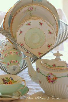 Mix Matching Tea Cups with a flower garden of patterns. ~ Mary Walds Place - Aiken House & Gardens: Celebrating Tea