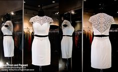 White Jersey Two Piece Homecoming Dress-High Beaded Neckline and Back- Beaded Cap Sleeves-115VP015160