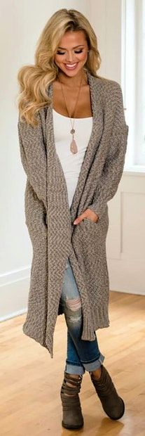 #winter #outfits gray cardigan