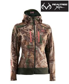 #NEW Under Armour® Women's #RealtreeXtra camo Jacket delivers proven, cold-weather performance engineered for women. Ultraquiet, wind-resistant 100% polyester soft-shell construction with a Storm durable water-repellent finish blends moisture management with lightweight, non-restrictive performance to keep you comfortable, dry and mobile.