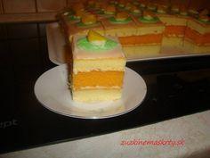 Šťavnaté broskyňové rezy - zuzkinemaskrty.sk Czech Recipes, Cheesecake, Cheesecakes, Cherry Cheesecake Shooters