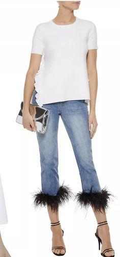 Marabou trim, Alice & Olivia Rebecca Miller, Alice Olivia, Skinny Jeans, Fun, Pants, Travel, Fashion, Trouser Pants, Moda