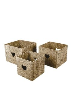 Set of 3 Water Hyacinth Baskets with Heart Detail | very.co.uk
