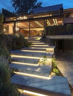 Have you just bought a new or planning to instal landscape lighting on the exsiting house? Are you looking for landscape lighting design ideas for inspiration? I have here expert landscape lighting design ideas you will love. Architecture Design, Landscape Architecture, Stairs Architecture, Landscape Designs, Contemporary Architecture, Modern Contemporary, Architecture Today, House Landscape, Amazing Architecture
