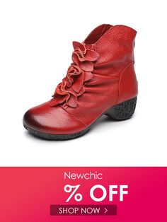 ce08c74e8f Socofy SOCOFY Soft Genuine Leather Retro Floral Pure Color Ankle Low Heel  Zipper Boots is hot-sale. Come to NewChic to buy womens boots online.