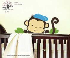 Monkey decal for baby boys nursery, boys wall stickers.