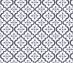 Navy & White Ikat Moroccan Flower fabric by sugarfresh on Spoonflower - custom fabric
