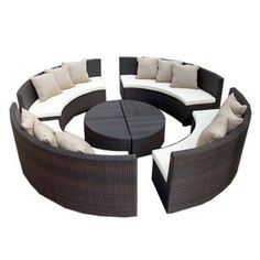 Circular-bench-and-tables-pillows 30 Most Inspiring Chairs Commercial Patio Furniture, Patio Furniture For Sale, Outdoor Furniture, Furniture Usa, Dream Furniture, Wooden Furniture, Humble House, Home Landscaping, Patio Seating