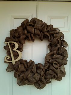 Burlap Wreath with Monogram Initial by DitzyDesign on Etsy
