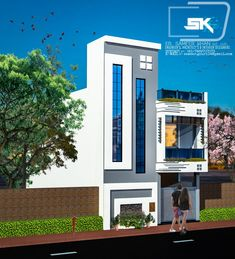 Introducing modern house elevation design in front By Er. Front Elevation Designs, House Elevation, Building Elevation, 2 Storey House Design, Duplex House Design, House Outside Design, House Front Design, Classic House Design, Unique House Design