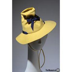 7cdc9ec2797 Circa 1937 yellow wool felt with violet grosgrain ribbon by Lilly Daché