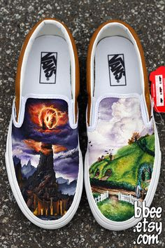 Seventeen year-old Alexandra Trim designed these Shire and Mordor themed shoes for a customer. Luckily, she seals all of her shoes to be protected from water and dirt, otherwise one might be too afraid to wear them! She sells her custom shoes under the label BBEE Shoes; you can find her work on Etsy, DeviantArt, Facebook, and on her website.