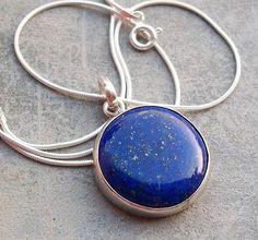 Blue pendant - Lapis lazuli pendant - Lapis pendant -  Bezel pendant - Round pendant - Gemstone pendant - Gift for her