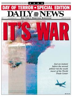 Front page of the Daily News dated Sept. 12, 2001, Headline: IT'S WAR, Smoke…