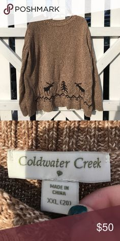 Coldwater Creek Moose Sweater Great condition, just shrunk a bit so I would say it is about a 1x Coldwater Creek Sweaters