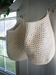 Crochet Basket for toys (heck...for anything you want!  Wouldn't onions and potatoes in a pantry be great!)