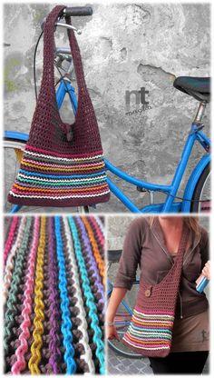 Crochet Bag Pattern Sacchetto Millerighe by di NTmagliaCrochet