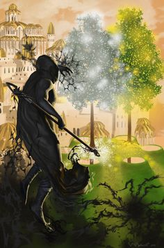 Morgoth approaching the Two Trees in Valimar by ivanalekseich.deviantart.com on @DeviantArt