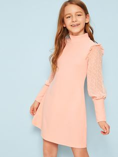 To find out about the Girls Frill Trim Swiss Dot Leg-of-mutton Sleeve Dress at SHEIN, part of our latest Girls Dresses ready to shop online today! Girls Fashion Clothes, Tween Fashion, Girl Fashion, Fashion Outfits, Collar Dress, Tee Dress, Dresses Kids Girl, Girl Outfits, Cord Pinafore Dress