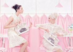 Clear logo totes by Louis Vuitton (ad campaign image by Steven Meisel)