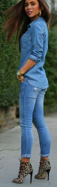 Camel Leopard Ankle Boots With Total Denim Outfit. Those heels are too much for me. I would wear my Leopard flats.