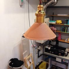 レザーのランプシェード 試作中です!燃えませんように^o^  #leather_ma_sa  #cafeplus_kobe #leather  #革…