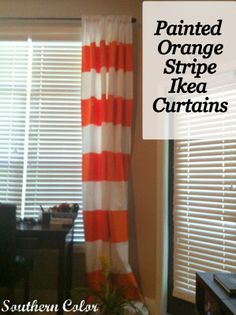 Painted Orange Stripe Ikea Curtains at Southern Color - Wohnwagen Ikea Curtains, Painted Curtains, Nursery Curtains, Curtain Tutorial, Bunk Beds Built In, Striped Curtains, White Curtains, Paint Stripes, Window Coverings