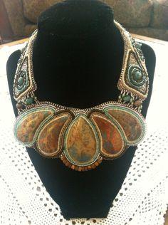 Bead embroidered jasper necklace by AlishaMaria on Etsy. , via Etsy.