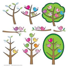 Birds Branch Tree Clipart Clip Art Cute Birds Pink Blue Green Yellow Colors Digital Scrapbook Embellishments Make Your Own Cards 10058 via Etsy