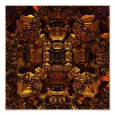 SOLD! The Golden Canopy.metallic construct. Unique 3D fractal art by Tammy Winand created with Mandelbulb 3D digital software. Transport yourself to alternate sci fi universes with ethereal fantasy cities.