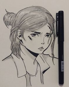 Ellie - The last of us Releitura #ellie #thelastofus #game #jogo #drawing #Art #ink #zombie #Sony #play #PlayStation #mihodesenho