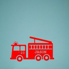 Childs room/play room vinyl fire truck wall decal