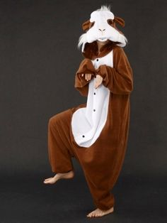 Guinea Pig Kigurumi Pajama.  I've seen this before and just thought it was kind of creepy, but it would be really funny to wear this and sit in the guinea pig cage with my guinea pigs or something equally weird just to see my family's reaction.