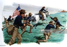 A painting depicting Teddy Roosevelt and his Rough riders storming San Juan Heights in a key battle of the SpanishAmerican War on July 1, 1898 near Santiago de Cuba, Cuba.