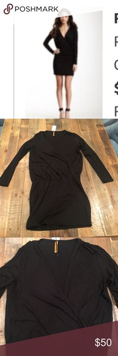 RACHEL PALLY Black Paxton Wrap style mini dress Fabulous low V neck wrap style date night mini dress.  This dress is black. I'm using pictures of the green color dress so you can see what it looks like on a body. Rachel Pally Dresses Mini
