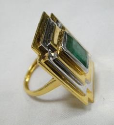 vintage 18 K solid gold Art Deco natural Emerald gemstone set Ring. Beautiful one of type collection piece in very good condition. weight-10.700 grams, Usa ring size -7.5 ( we can adjust to any size), size of TOP- 2.7/2.5 cm, Material -18 K solid gold (marked), natural Emerald ,