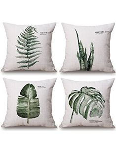 milesky decorative throw pillow cases cotton linen square 18x18 inch set of 4 series